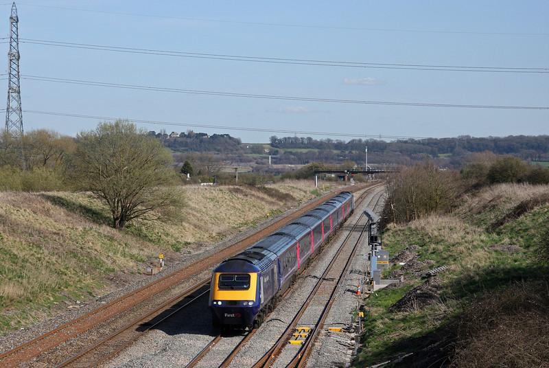 HST, 14.15 London Paddington-Cardiff Central, Pilning, 8-4-10.