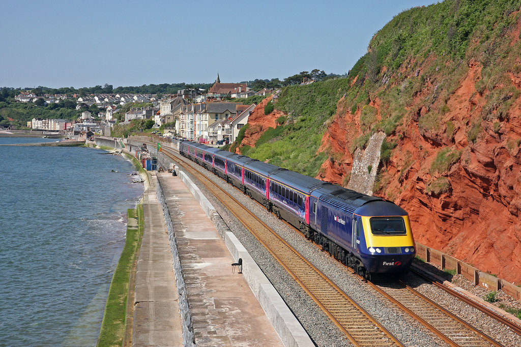 43128/43153, 07.18 Penzance-London Paddington, Dawlish, 21-6-14.