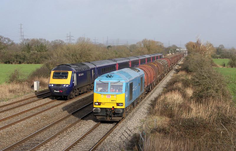 43153/43194, 12.15 London Paddington-Cardiff Central, 60074, 10.01 Round Oak-Margam, Coedkernow, near Newport, 30-1-13.