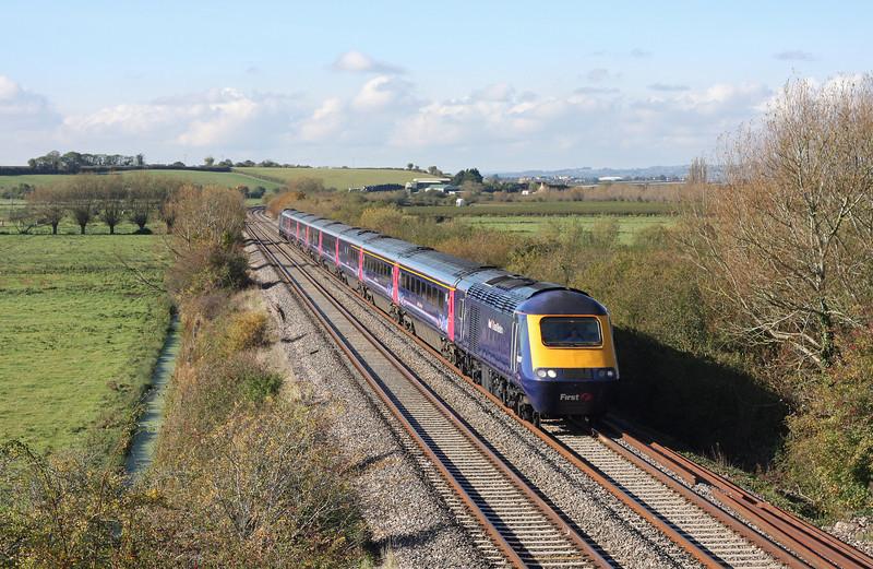 HST, 08.44 Penzance-Paddington, Wick, near Langport, 28-10-11 (late).