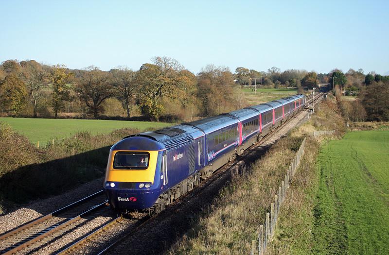 43161/43, 13.06 London Paddington-Plymouth, Woodborough, near Pewsey, 16-11-10.