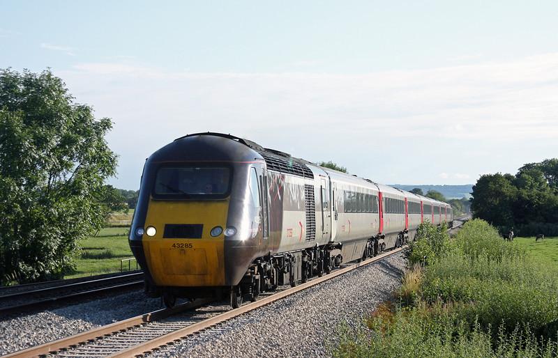 43285/43378,17.23 Plymouth-Leeds, Pugham Crossing, near Burlescombe, 28-7-11.