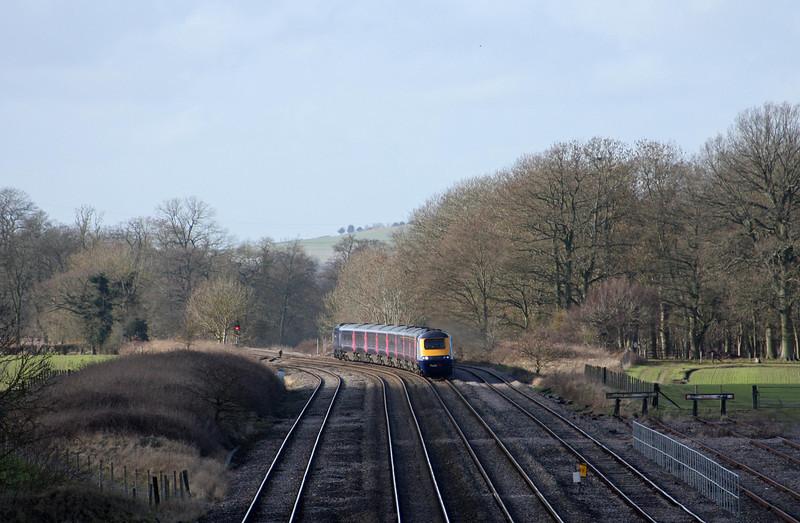 HST, eastbound, Woodborough, near Pewsey, 3-2-11.
