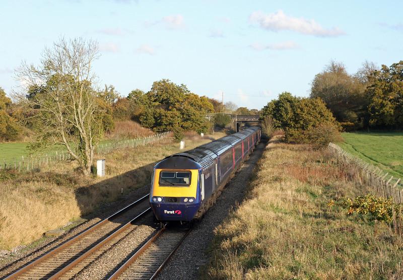 HST, 13.45 Paddington-Swansea, Acton Turville, near Badminton, 1-11-11.