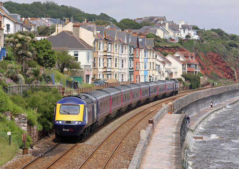 HST, westbound, Dawlish, 13-6-12, wrong line working in operation.