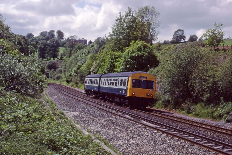 DMU 874 up, Marlands, near Wellington, 16-5-90.