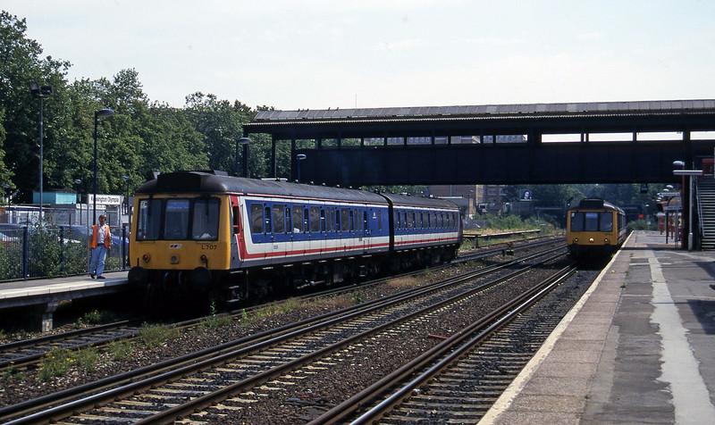 DMUs, London Willeden Junction-Clapham Junction shuttles, Kensington Olympia, 19-7-96.