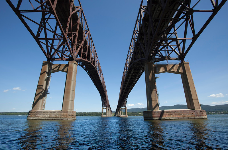Calm water under the Newburgh Beacon Bridge on this beautiful Saturday afternoon