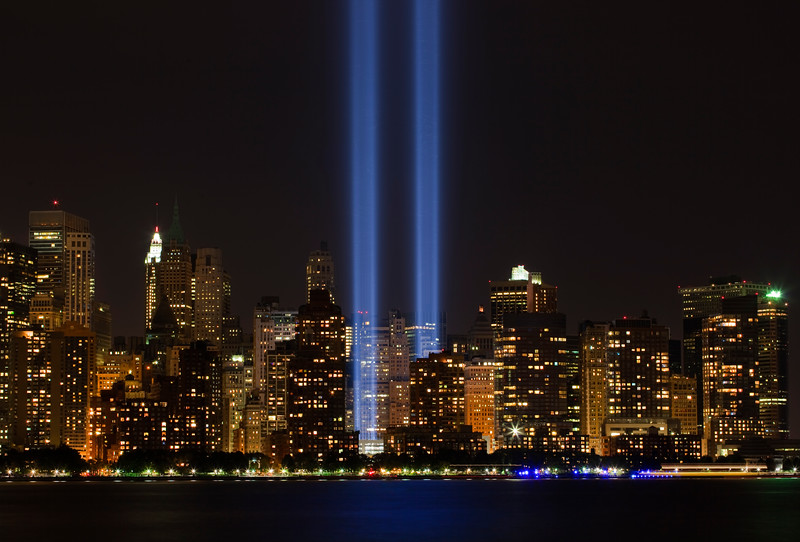 Tribute in Light taken from Jersey City on the 9th anniversary of the 9-11 attacks