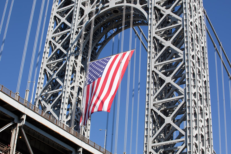 The American Flag is displayed on th New Jersey tower of the George Washington Bridge for the 9th anniversary of 9-11