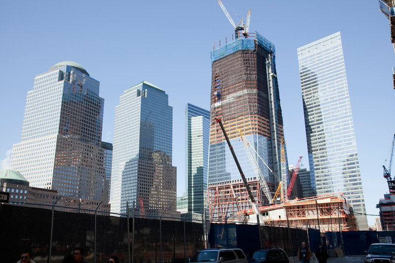 The new Freedom Tower under construction and currently at about 60 stories starting to fill in the skyline around zero