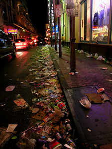 This is Bourbon St. about an hour after the end of Mardi Gras (1:00 A.M. Ash Wednesday Morning).