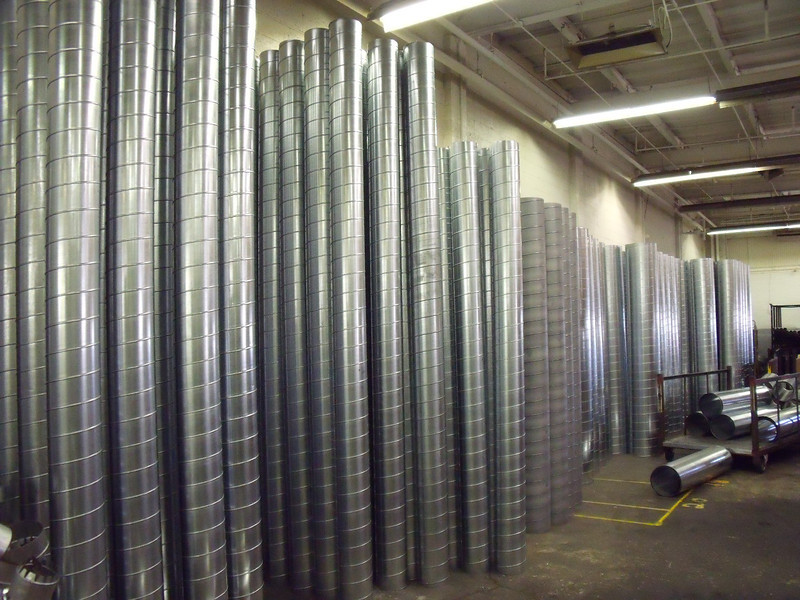 Spiral duct inventory ready for pickup or delivery.