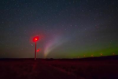 Shooting star, Aurora and turbines