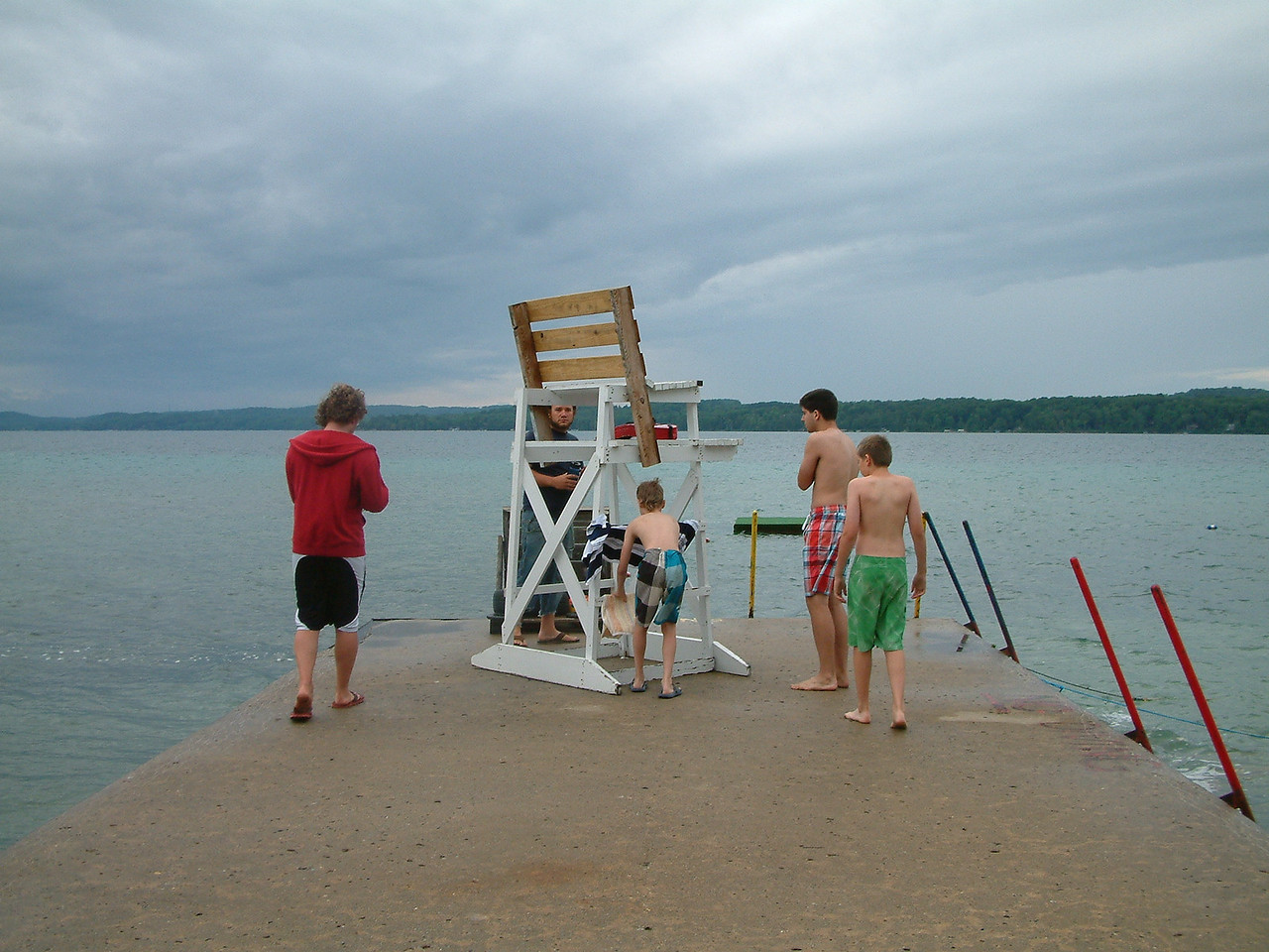Eager Polar Bearers! The morning tradition of jumping in Torch Lake as an early morning wake up!