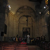 Former Basilica Francisco Asis Menor. The entire complex has been de-sanctified and now serves as a rehearsal and performance space. Larger than life painting of an apparent Baby Jesus in Castro's arms under the cross...