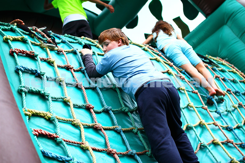 8-12-13. Habayit. Israeli Festival at Beth Weizmann. Climbing rope wall. Photo: Peter Haskin