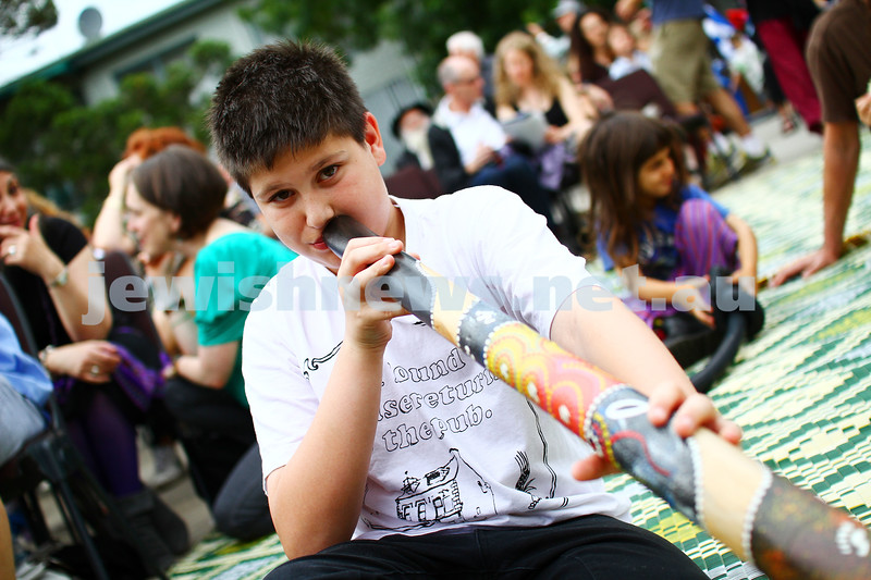 8-12-13. Habayit. Israeli Festival at Beth Weizmann. xxxx plays the didgeridoo. Photo: Peter Haskin