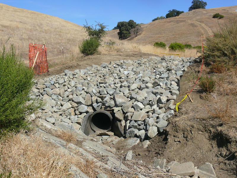 . . . and a view of the finished drain outlet.