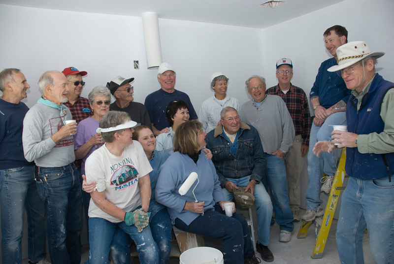 Ridgecrest Methodist Church Members take a break as they help build a Habitat for Humanity home in the Indian Wells Valley (3-15-2008).  Ken Kelley, Construction Supervisor, on the right.