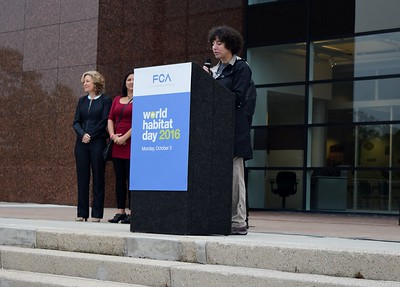 Lesley Slavitt, head of civic and community relations and CEO of the FCA Foundation speaking at the FCA volunteer event for World Habitat Day at the Walter P. Chrysler Museum on Monday, Oct. 3 2016.