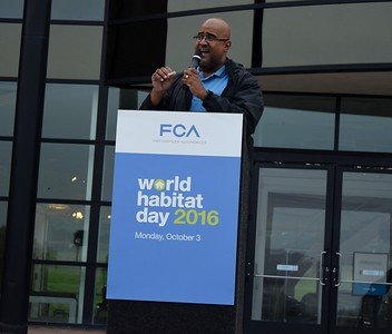 Ken Cockrel Jr., executive director of Habitat for Humanity Detroit speaking at the FCA volunteer event for World Habitat Day at the Walter P. Chrysler Museum on Monday, Oct. 3 2016.