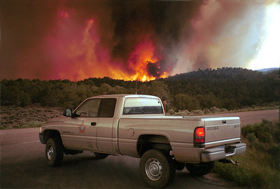 Forest fire near Dutch John, summer of 2002