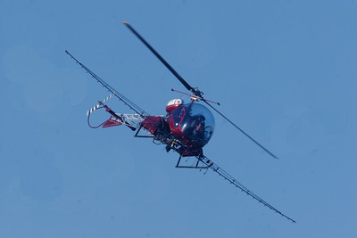 Money and support from the Utah Waterfowler's Association, Utah Legislature and the Utah Airboaters Association made the phragmite management project possible, including this helicopter spraying phragmites. Photo taken 9-12-08 by Phil Douglass, Utah Division of Wildlife Resources