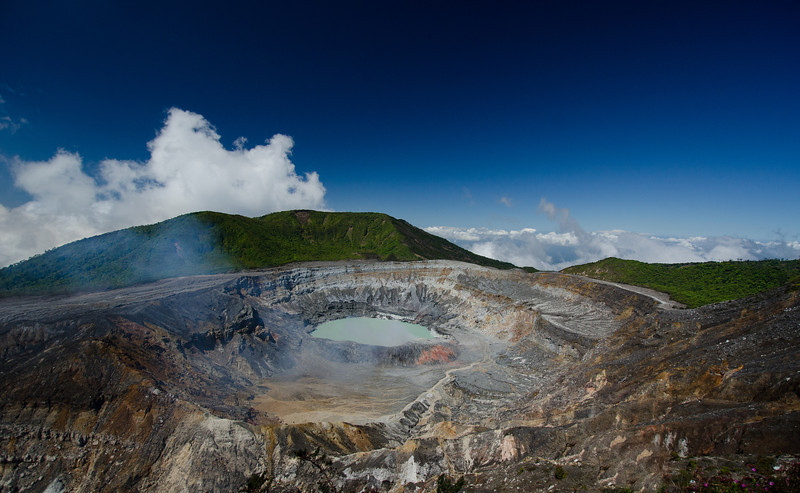 A rare clear view of the crater at Poas Volcano, Costa Rica