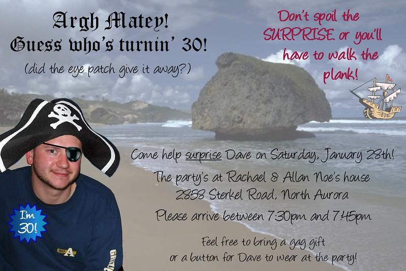 Dave's 30th invite