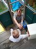 Dad tying Jack's shoe 04-15-01