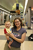 Here we are at the airport!  Jonah's 1st plane ride!  He's just over 8 months old.  Oh boy!  <br /> <br /> Jonah did great on the flight.  Since our midday flight got canceled, we ended up on a 9pm flight, so he slept pretty much the entire flight.  What a good boy!