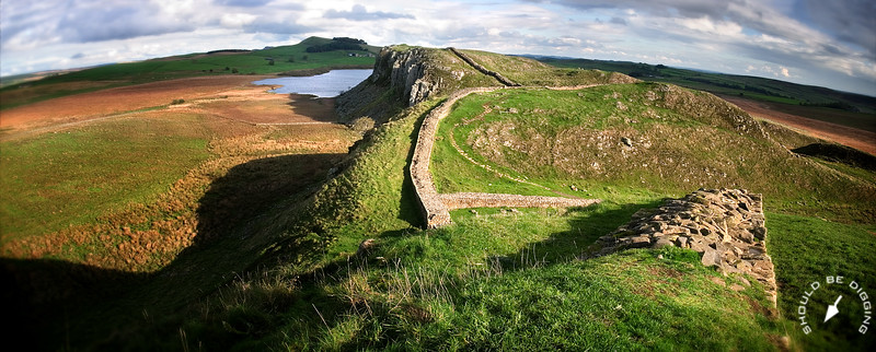 Panoramic view east along Hadrian's Wall, Northern England