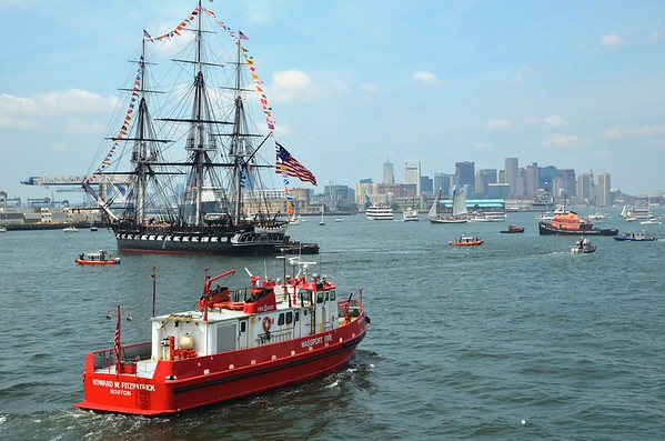 Old Ironsides making her move on the 4th of July in Boston Harbor