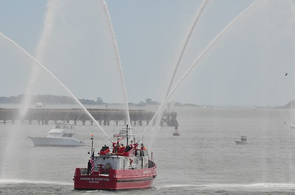 Fire boat clearing the way for Old Ironsides