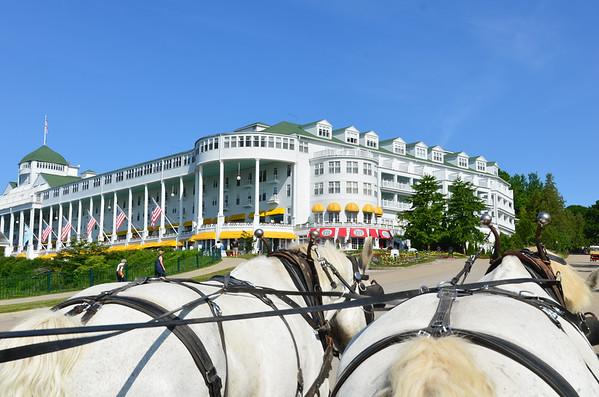 Carriage ride to the Grand Hotel, Mackinac Island