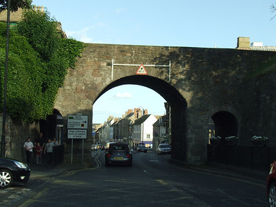 In Berwick, passing under the old walls of the town