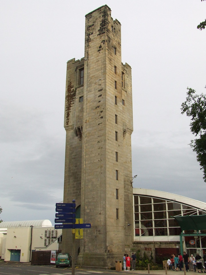 The tower at the entertainment complex at Haggerston Castle. This was the water tower that supplied water to the Haggerston estate and surrounding dwellings that were part of the Haggerston Estates built by the Naylor family in the 19th century. It drew water from what is now the boat lake at the site which fed two large tanks in the tower. At the top of the tower was an observatory.