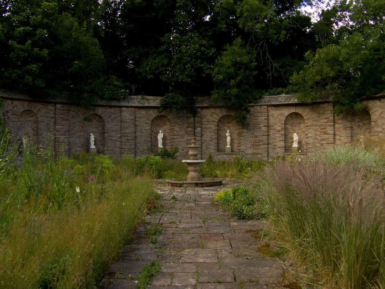 Part of the walled garden that was built by CJ Leyland when he resided at Haggerston House. He used the garden to grow his own plants, and spent a lot of time here cultivating them