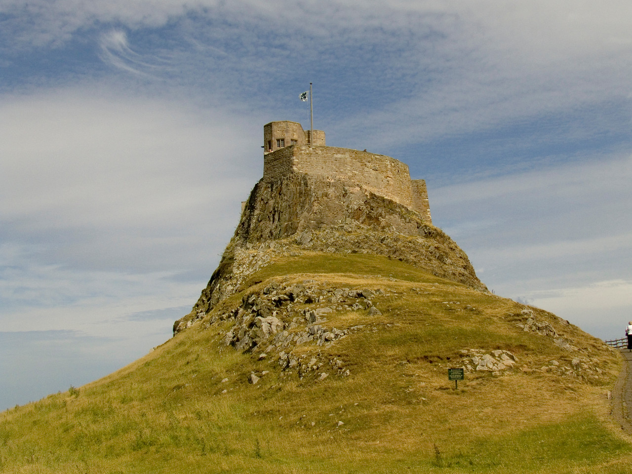 Lindisfarne Castle as seen from the harbour