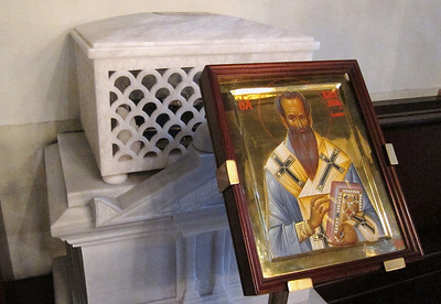 St. Basil the Great reliquary. Some of the relics of St. John and St. Gregory were looted from Constantinople by the Fourth Crusade in 1204. They were returned to the Church of St George by Pope John Paul II in 2004.