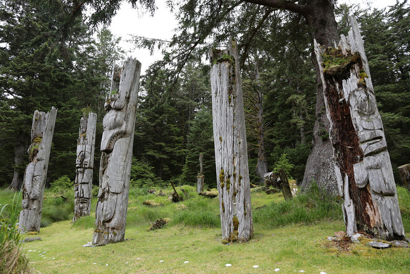 Mortuary poles at Sgang Gwaii (Ninstints)