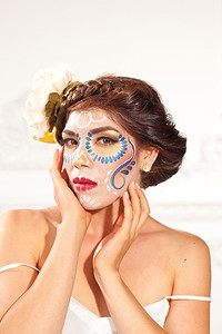 Model: Jessica Madera Wardrobe & Styling: Paulina Clothing Photographer: Arturo Nevarez HMUA: Ande Castaneda Day of the Dead face paint: Paulina Hererra
