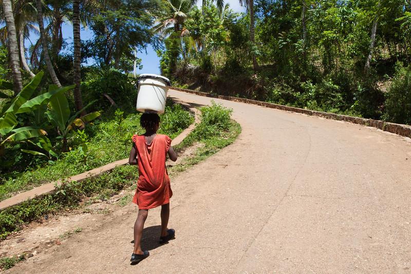 Haiti water bucket girl