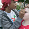 Leominster held it's first Haitian Festival on the common Sunday, September 8, 2019. One of pieces of art at the festival. Lilly Tiudel, 11, of Lunenburg gets her face painted by Samentha Mauricette of Leominster at the festival. SENTINEL & ENTERPRISE/JOHN LOVE