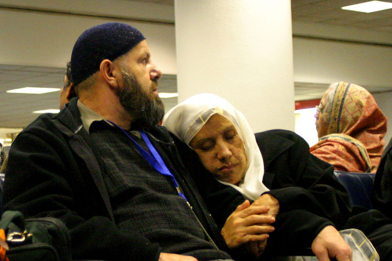 An unknown couple.  The flight was to Amman and I presume was mostly people going for Haj.
