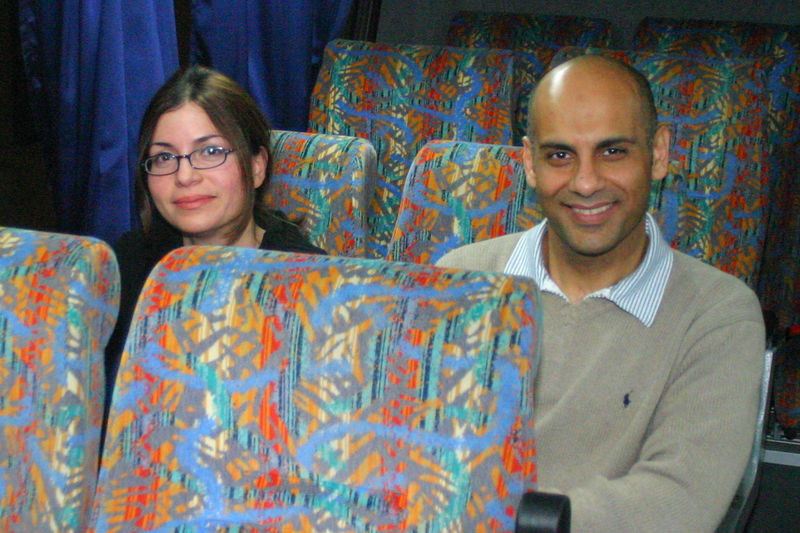We had a 7 hour layover in Amman and they sent us to a hotel.  Mummy's Pakistani passport always caused a problem and the rest of the group patiently coped with getting her through.  Here Nadeem and Nadia are on the bus to the hotel.