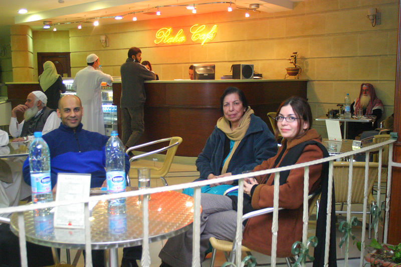 We only had time to freshen up so we shared a room with Nadeem and Nadia for a two hour rest.  Here we are in the hotel cafe in Amman, Jordan.