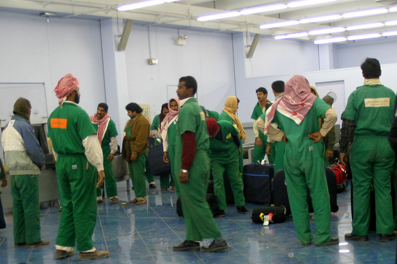 The mostly Pakistani porters at the airport took all the luggage and laid it out in neat rows.  It was the strangest sight.  These men form the working backbone of Saudi society but get very little respect.