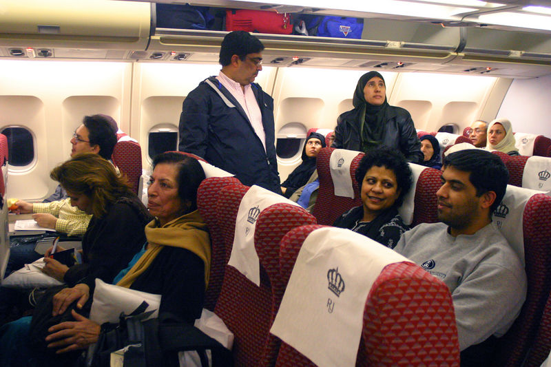 Settling into our seats for Amman.  Ambreen is sitting right next to Mummy in the center.  And across the isle from her is Arshad Jan.  They were wonderful companions all through Haj and became good friends.  Behind us are Mom and Dad(standing) Rajput with Zeeshan.
